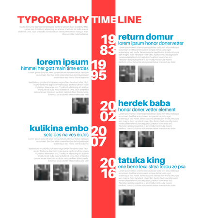biggest: Vector Infographic typographic timeline report template with the biggest milestones, photos, years and description