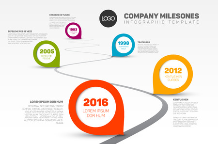 year curve: Vector Infographic Company Milestones Timeline Template with pointers on a curved road line