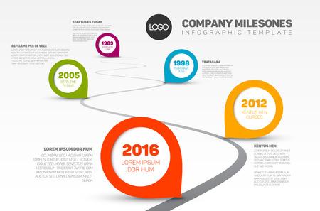 Vectorial Infografía de la compañía Hitos Plantilla línea de tiempo con los punteros en una línea curva por carretera Ilustración de vector