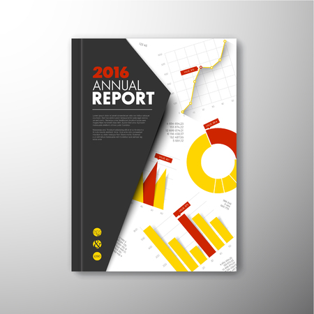 interim: Modern Vector annual brochure, report or flyer design template with infographic graphs and charts - yellow and red version