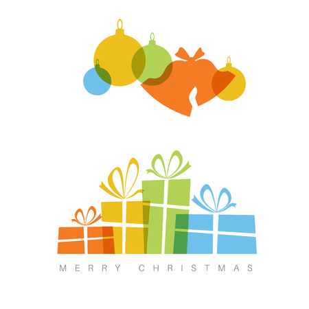 minimalist: Minimalist Flat Christmas card with decorations and gifts boxes with simple overlay effect Illustration