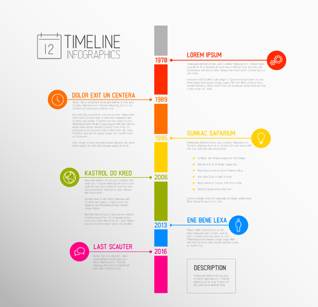 biggest: Infographic timeline report template with the biggest milestones, icons, years and color buttons - vertical time line version