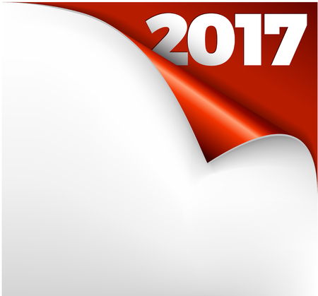 changes: Christmas New Year Card - Sheet of red paper with a curl 2017 Illustration