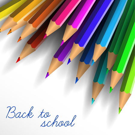 School poster - colorful crayons on white background and lettering Back to school