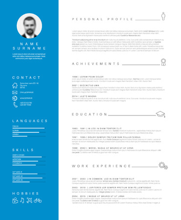 personal profile: minimalist cv  resume template with nice typography design - blue and white simple curricular vitae layout.