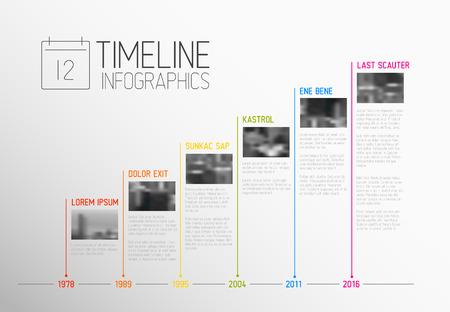 coloré Infographic typographic modèle de rapport de calendrier avec les plus grands jalons, des photos, des années et description