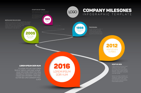 road line: Infographic Company Milestones Timeline Template with pointers on a curved road line - dark time line version Illustration