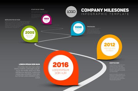 curves: Los hitos de la compañía infografía Cronología plantilla con indicaciones sobre una línea curva por carretera - versión de línea de tiempo oscuro