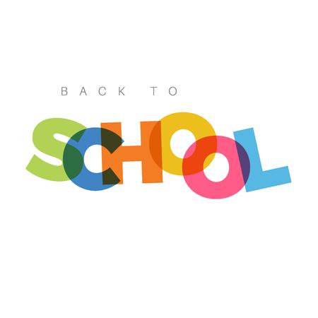 """Resumen """"Volver a la escuela"""" concepto con letras de colores divertidos"""