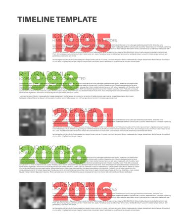 biggest: Infographic typographic timeline report template with the biggest milestones, photos, years and description Illustration