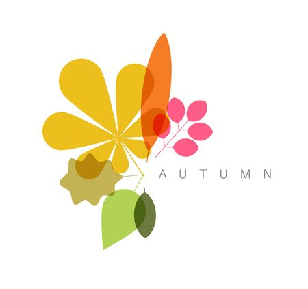 minimalist: Autumn abstract floral background made from minimalist leafs with place for your text