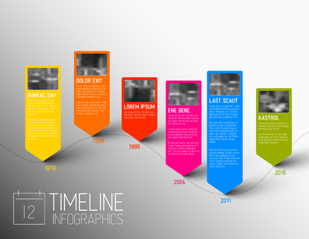biggest: Vector colorful Infographic typographic timeline report template with the biggest milestones, photos, years and description