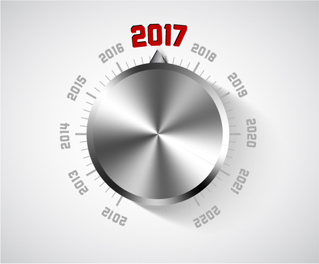 home audio: Vector 2017 New Year card for music lover with big volume chrome knob Illustration