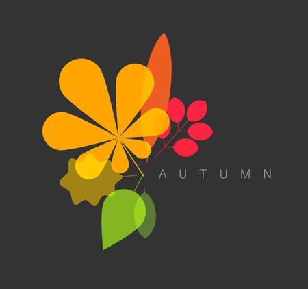 retro style: Autumn abstract floral background made from minimalist leafs with place for your text - dark version