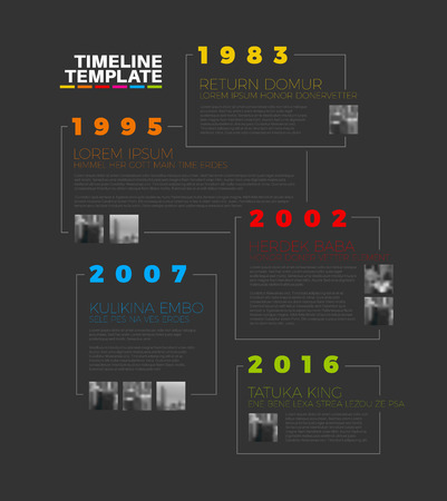 biggest: Vector Infographic typographic timeline report template with the biggest milestones, photos, years and description - dark version
