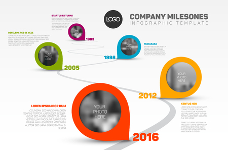 curved road: Vector Infographic Company Milestones Timeline Template with pointers and photo placeholders on a curved road line