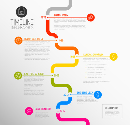 time line: Vector Infographic timeline report template with the biggest milestones, icons, years and color buttons - vertical time line version