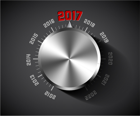 turns of the year: Vector 2017 New Year card for music lover with big volume chrome knob - dark version