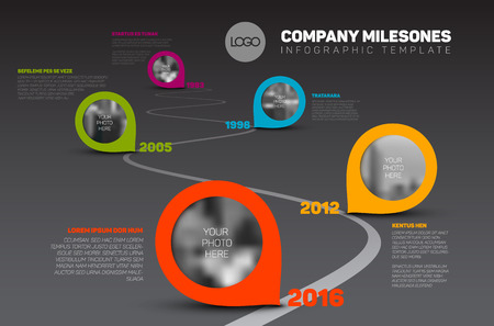 road line: Vector Infographic Company Milestones Timeline Template with pointers and photo placeholders on a curved road line - dark version