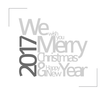 winter wish: Abstract minimalist vector typography Christmas card - season words We wish you a merry christmas and happy new year
