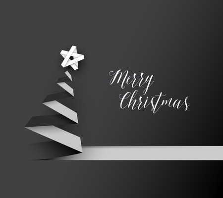 christmas star background: Simple vector christmas tree made from black and white paper stripe - original new year card Illustration
