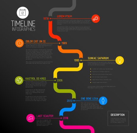 biggest: Vector Infographic timeline report template with the biggest milestones, icons, years and color buttons - dark vertical time line version Illustration