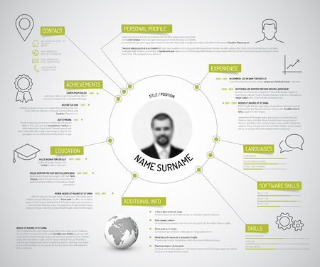 headings: Vector original minimalist cv  resume template - creative version with green headings and icons Illustration