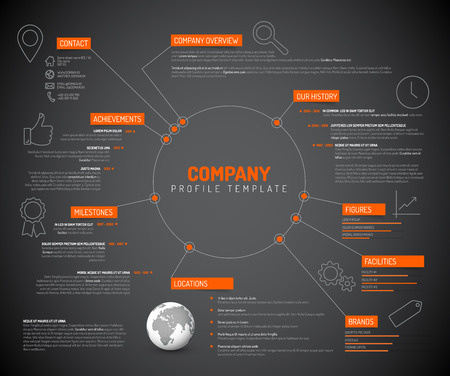 Vector Company infographic overview design template with orange labels and icons - dark version