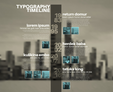biggest: Vector Infographic typographic timeline report template with the biggest milestones, photos, years and description on blurred city background