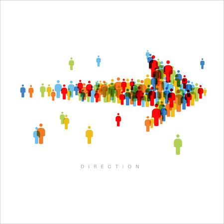 Kierunek - duża strzałka z ikon grupy osób. Ilustracje wektorowe