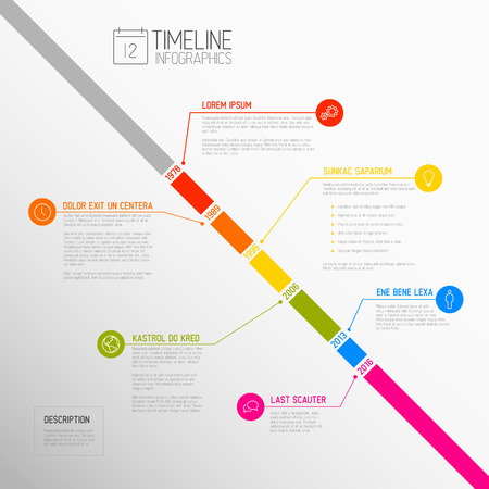Vector Infographic diagonal timeline report template with the biggest milestones, icons, years and color buttons - diagonal time line version Vector Illustration