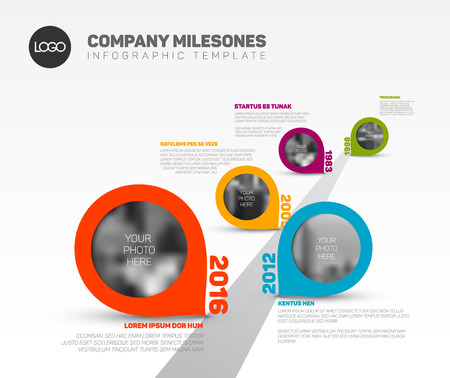 Vector Infographic Company Milestones Timeline Template with pointers and photo placeholders on straight road line Vectores