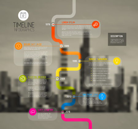 biggest: Vector Colorful Infographic typographic timeline report template with the biggest milestones, photos, years and description on blurred city background