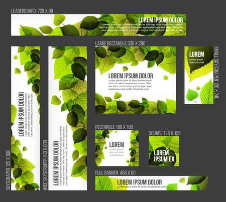 saturate: 8 Standard size spring banner templates with fresh leaves