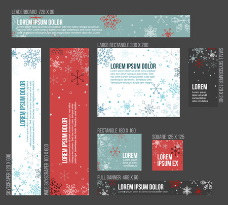 8 Standard size winter christmas banner templates with snowflakes
