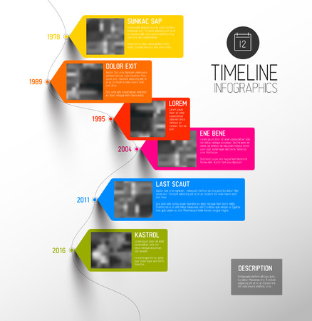 typo: Vector colorful Infographic typographic timeline report template with the biggest milestones, photos, years and description - vertical version Illustration