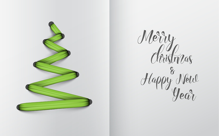 original: Simple vector christmas tree made from green lace, string - original new year card