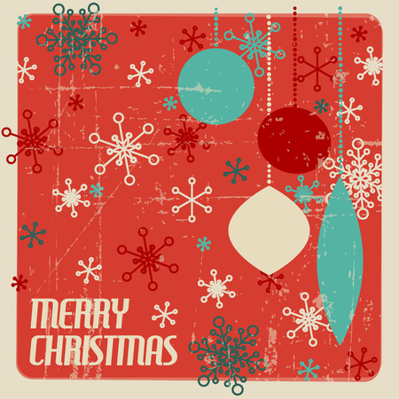 retro christmas card with christmas decorations and snowflakes teal and red stock vector 64040216 - Teal And Red Christmas Decorations