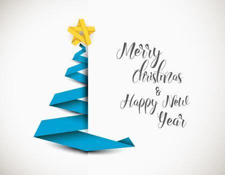 Einfache Vektor Weihnachtsbaum aus blauem Papierstreifen - original Neujahrskarte