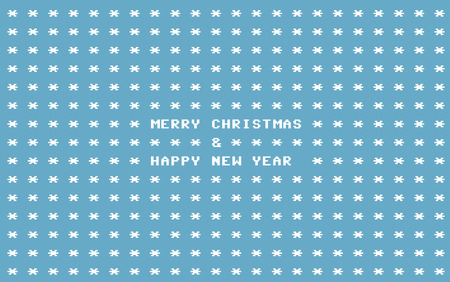 Blue ascii art retro computer christmas card with white snowflakes and place for your text