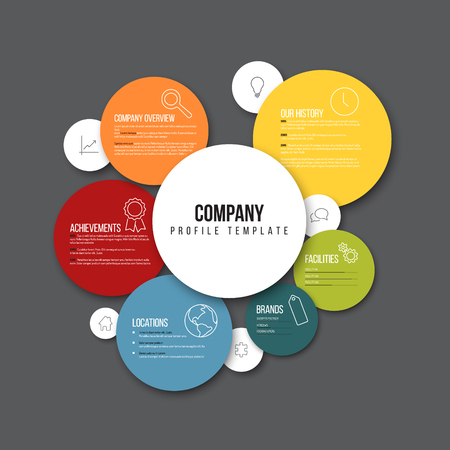 principles: Vector Company infographic overview design template with content in the colorful circles - dark version