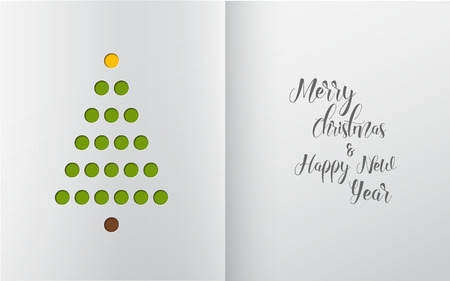 Minimalistic Christmas tree made from holes in white paper (simple office handmade christmas card)