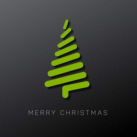tree design: Simple vector christmas card with abstract christmas tree made from lines - original new year card