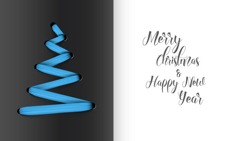 original: Simple vector christmas tree made from blue lace, string - original new year card