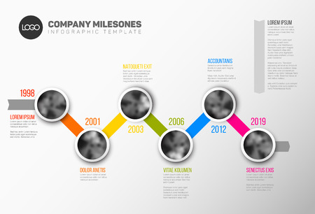 history month: Vector Infographic Company Milestones Timeline Template with circle photo placeholders on colorful line