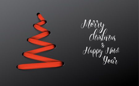 Simple vector christmas tree made from red lace, string - original new year card Illustration