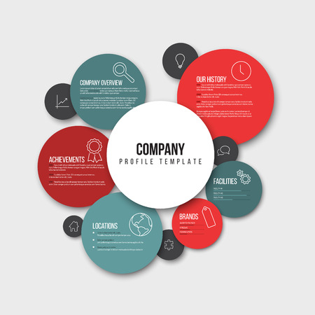 overview: Vector Company infographic overview design template with content in the read and blue circles - light version Illustration