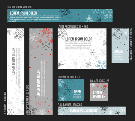 christmas banner: 8 Standard size winter christmas banner templates with snowflakes