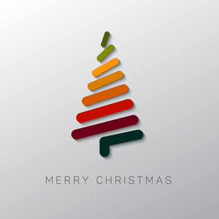 original: Simple vector christmas card with abstract christmas tree made from lines - original new year card