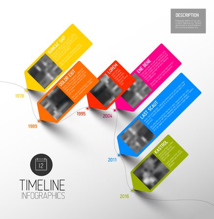 Vector colorful Infographic typographic timeline report template with the biggest milestones, photos, years and description - diagonal version